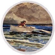 Rowing At Prouts Neck Round Beach Towel