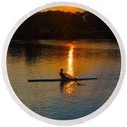 Rowing At Sunset 2 Round Beach Towel