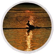 Rowing At Sunset 3 Round Beach Towel