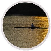 Rowing At Sunset Round Beach Towel by Bill Cannon