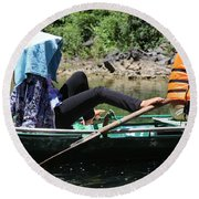 Rowing Boat With Legs, Tam Coc  Round Beach Towel