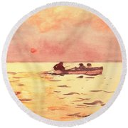 Rowing Home Round Beach Towel by Winslow Homer