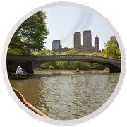 Rowing In Central Park Round Beach Towel
