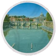 Rowing On The Tiber Rome Round Beach Towel