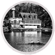 Rowing Past Turtle Rock Light House In Black And White Round Beach Towel
