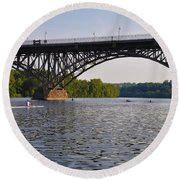 Rowing Under The Strawberry Mansion Bridge Round Beach Towel by Bill Cannon