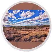 Rows Of Clouds Over Sonoran Desert Round Beach Towel