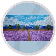Rows Of Lavender In Provence Round Beach Towel