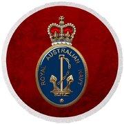 Royal Australian Navy -  R A N  Badge Over Red Velvet Round Beach Towel