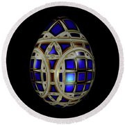 Royal Blue Egg With White Enamel And Goldleaf Round Beach Towel