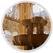 Royal Cloister Of The Batalha Monastery Round Beach Towel