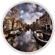 Royal Dutch Canals Round Beach Towel