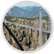 Royal Gorge Bridge In Summer Round Beach Towel