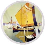 Royal Mail Atlantis Autumn Cruises Vintage Travel Poster Round Beach Towel