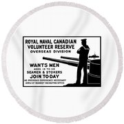 Royal Naval Canadian Volunteer Reserve Round Beach Towel by War Is Hell Store