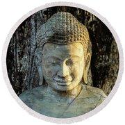 Royal Palace Buddha 02  Round Beach Towel