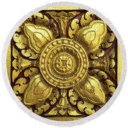 Royal Palace Gilded Door 04 Round Beach Towel