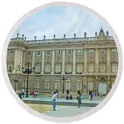 Royal Palace In Madrid In A Beautiful Summer Day, Spain Round Beach Towel