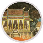 Royal Palace Ramayana 18 Round Beach Towel