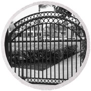 Royal Palm Gate Round Beach Towel