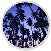 Royal Palm Grove Round Beach Towel