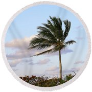 Royal Palm Tree Round Beach Towel