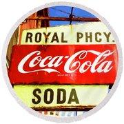 Royal Phcy Coke Sign Round Beach Towel