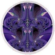 Royal Purple Backbone Fractal Abstract Round Beach Towel