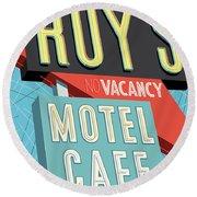 Roy's Motel Cafe Pop Art Round Beach Towel