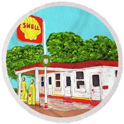 Rt 66 Shell Station Round Beach Towel