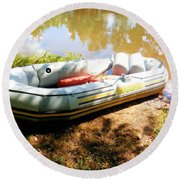 Rubber Boat 1 Round Beach Towel