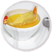 Rubber Chicken Soup Cure Funny Fever Round Beach Towel