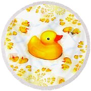 Rubber Ducks Round Beach Towel