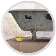 Rubber Ducky Bathtub Beach Surreal Round Beach Towel