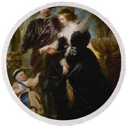 Rubens His Wife Helena Fourment 16141673 And Their Son Frans 16331678 Round Beach Towel