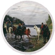 Rubicon. Crossing The River By Denis Davydov Squadron. 1812. Round Beach Towel