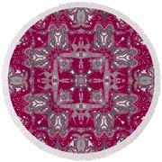 Rubies And Silver Kaleidoscope Round Beach Towel