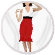Ruby Round Beach Towel by Nancy Levan
