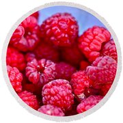 Ruby Raspberries Round Beach Towel