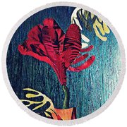 Ruby Red Flower Round Beach Towel