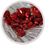 Ruby Red Hearts And Crystal Round Beach Towel