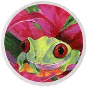 Ruby The Red Eyed Tree Frog Round Beach Towel