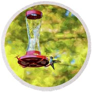 Ruby-throated Hummingbird 2 - Impasto Round Beach Towel