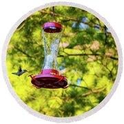 Ruby-throated Hummingbird 3 Round Beach Towel