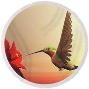 Ruby-throated Hummingbird - 3d Render Round Beach Towel