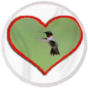 Ruby-throated Hummingbird In Heart Round Beach Towel by Dan Friend