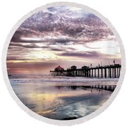 Ruby's Diner On The Pier Round Beach Towel