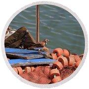Ruddy Turnstones Perching On Fishing Nets Round Beach Towel