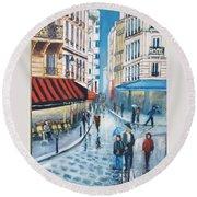 Rue De La Huchette, Paris 5e Round Beach Towel