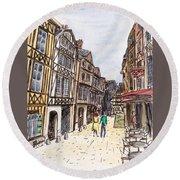 Rue Malpalu, Rouen, France I Round Beach Towel